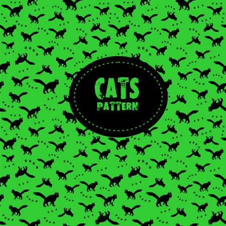 Stylish black cats pattern on a green background. Vector illustration.