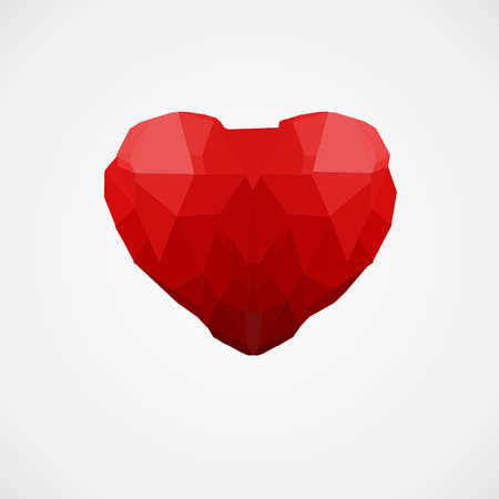 Red abstract heart on a white background. Vector illustration. Çizim