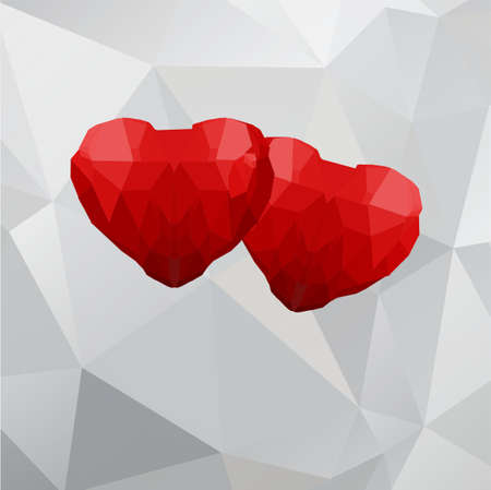 Two geometric polygonal hearts on a white background. Vector illustration.
