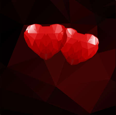 Two geometric polygonal hearts on a chocolate background. Vector illustration. Çizim