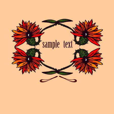 Flowers on beige background with sample text. Vector illustration.