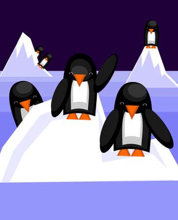 Pinguïns, staande op een ijsberg. Vector illustratie.