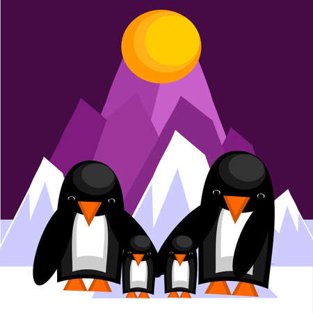 antarctica: Friendly family of penguins. Vector illustration.
