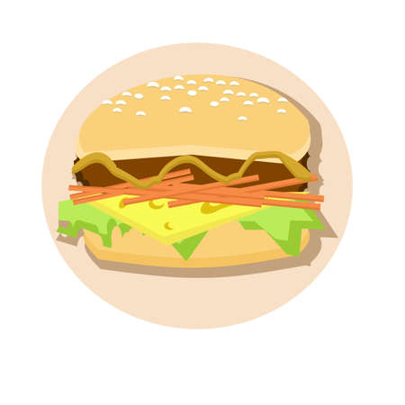 Hamburger with cheese over white background. Vector illustration.