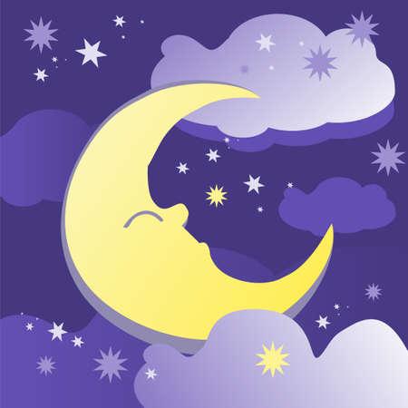 Nacht achtergrond met de maan, sterren en wolken. Vector illustratie.