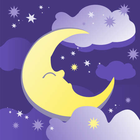 Night background with moon, stars and clouds. Vector illustration. Çizim