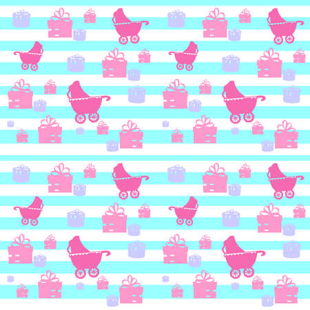 Cute seamless pattern with baby carriage on striped background. Vector illustration.