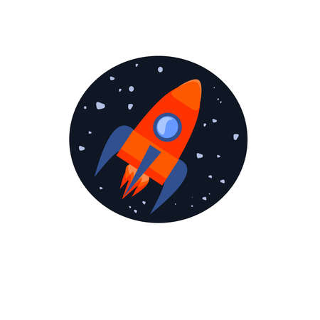 Space rocket flying in the sky. Business start up concept. Vector illustration.
