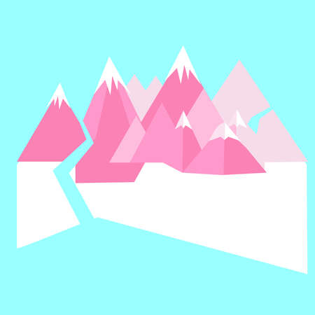Minimalistic abstract background with mountains. Vector illustration. Çizim