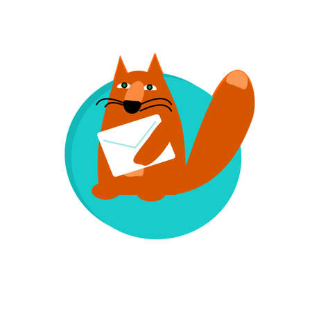 Flat icon with beautiful red fox. Vector illustration. Çizim