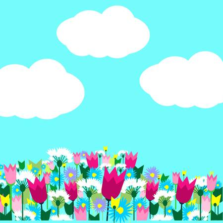 Spring meadow with with beautiful flowers and blue sky. Vector illustration.