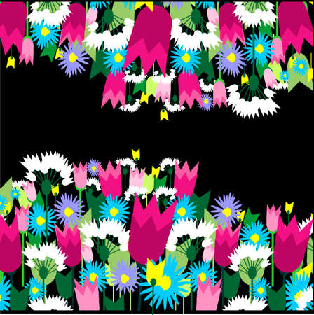 Stylish colorful floral background. Vector illustration.