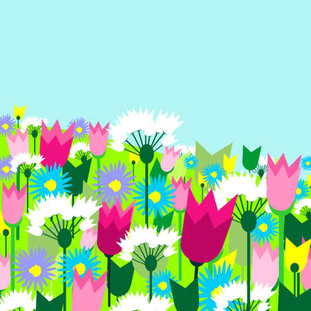 Spring sunny landscape in bright colors. Vector illustration.