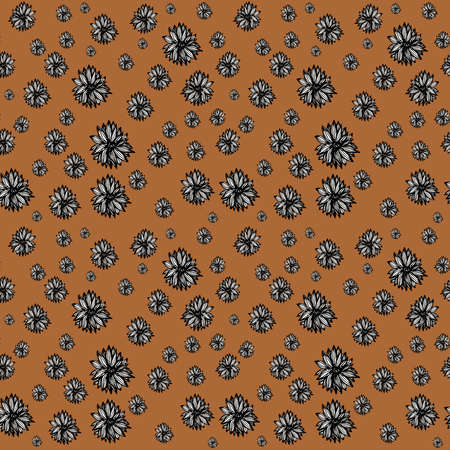 Seamless floral pattern on a beige background. Vector illustration.