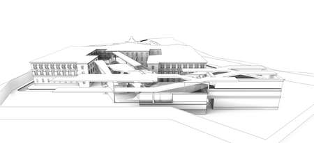 Wireframe render of a modern building integrated in historical centre of city.