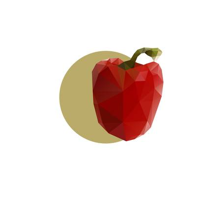 Red bell pepper on a white background. Vector illustration. Çizim