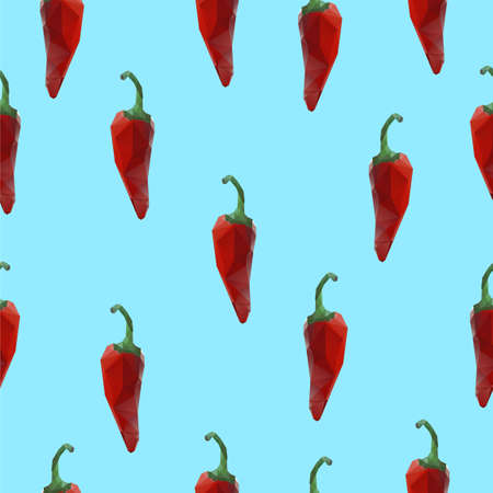 Seamless pattern with red chili peppers. Vector illustration