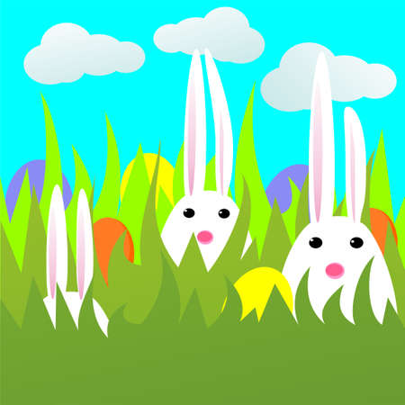 Easter card with rabbits and eggs in green grass. Çizim