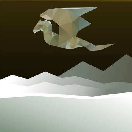 Dragon flying over the mountains. Vector illustration