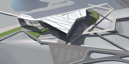 Abstract 3D render of sports building Stok Fotoğraf