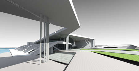 Perspective 3D render of sports building