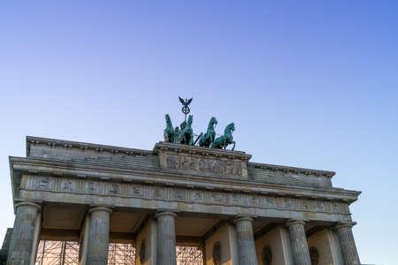 Berlin, Germany - September 30, 2018: View on the Brandenburg Gate (Brandenburger Tor) during sunset Editoriali