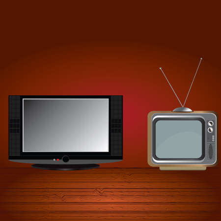 flat screen tv: Flat screen tv and retro tv  Illustration