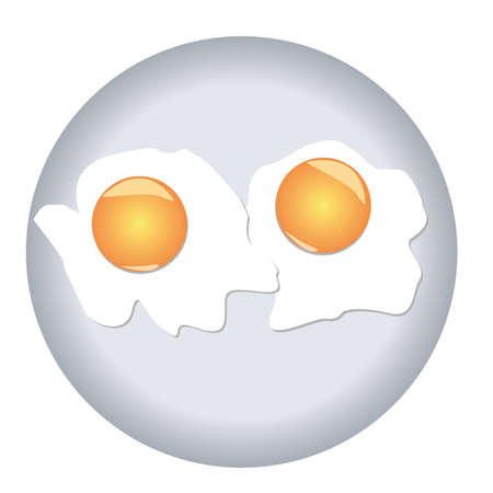 Fried eggs with two yolks on a plate  illustration  Vector