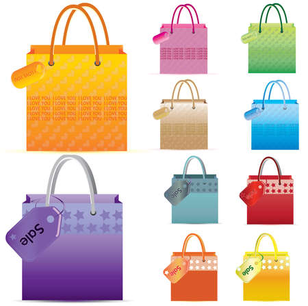 Shopping bag with label- SALE and i love you Stock Vector - 16441812
