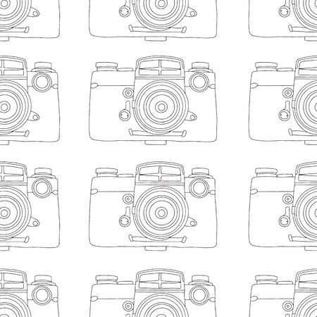 Seamless pattern from hand drawn vintage photo camera. Vector stock illustration.