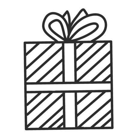 Doodle single hand drawn gift, present, New Year and Xmas box. Illustration for greeting card, posters, stickers, seasonal design, patterns, fabric, icon.