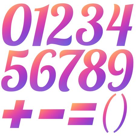Set gradient numbers in social media colors. Isolated symbols on white background. Stock illustration.