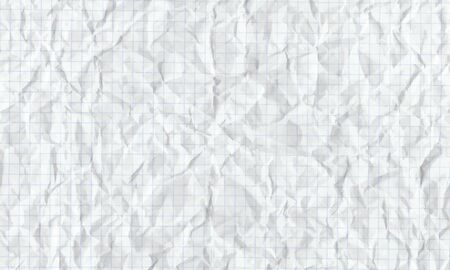 Crumpled squared paper. Textured with shadows background. Stock illustration. Illustration
