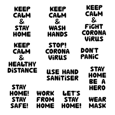 Quotes set about coronavirus. Wash hands, healthy distance, stay home, work from home, wear mask. Cute hand drawn bauble lettering. Isolated on white background. Vector stock illustration.