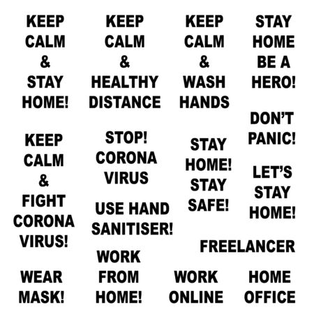 Quotes set about coronavirus. Wash hands, healthy distance, stay home, work at home, wear mask. Isolated on white background. Vector stock illustration. Çizim