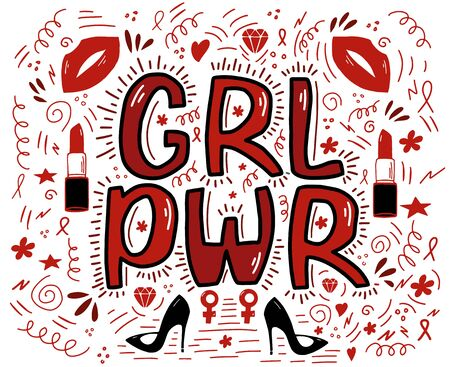 Girl power lettering with ribbons, lips, lipstick, stilettos, flowers, hearts, wavy lines. Symbolic poster. Isolated on white Vector stock illustration