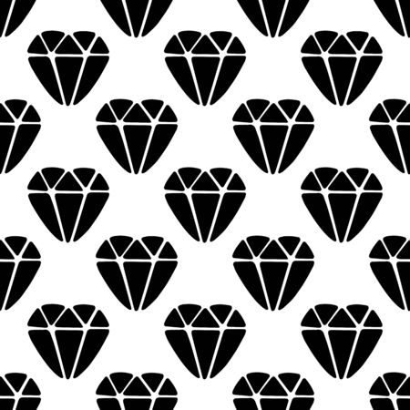 Seamless pattern made from doodle diamond. Isolated on white. Vector stock illustration.