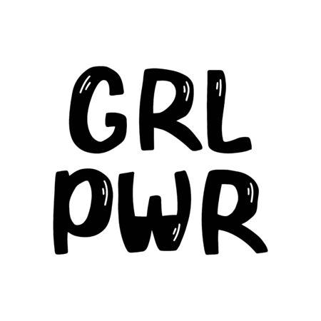 Girl power. Hand drawn ink lettering. Symbolic feminist poster. Isolated on white. Vector stock illustration.