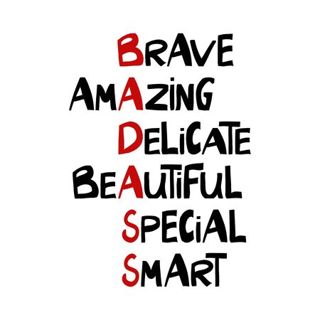 Brave, amazing, delicate, beautiful, special, smart, bad ass. Cute hand drawn lettering in modern scandinavian style. Isolated on white background. Vector stock illustration. Фото со стока - 150148272