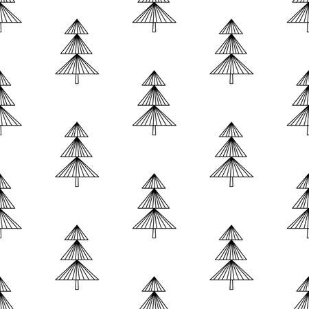 Seamless pattern made from doodle abstract fir trees. Isolated on white. Vector stock illustration. Ilustração Vetorial