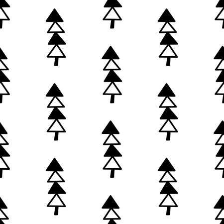 Seamless pattern made from doodle abstract fir trees. Isolated on white background. Vector stock illustration.