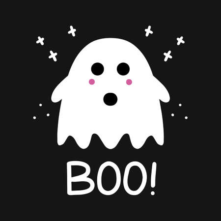 Cute ghost with pink blush and boo lettering. Simple doodle art. Halloween greeting card. Vector stock illustration.