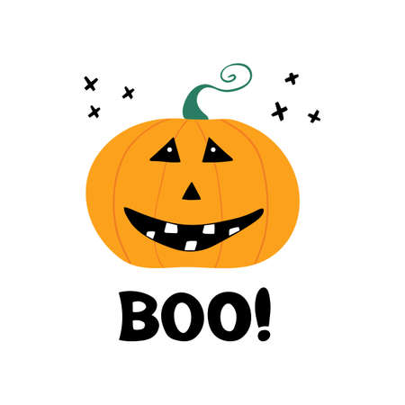 Cute smiling pumpkin character with boo lettering. Halloween greeting card. Isolated on white. Vector stock illustration.