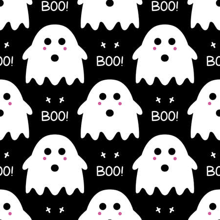 Cute ghost with pink blush and boo lettering as seamless pattern on black background. Halloween holiday. Vector stock illustration.