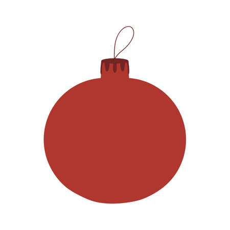 Red hand drawn Christmas tree ball icon. Isolated on a white background.