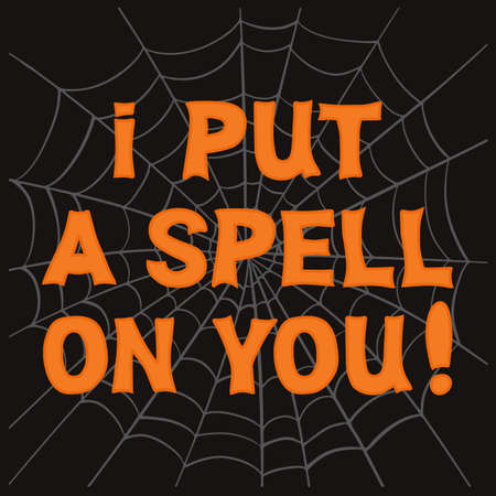 I put a spell on you. Orange lettering with gray cobweb sketch on dark background. Vector stock illustration.