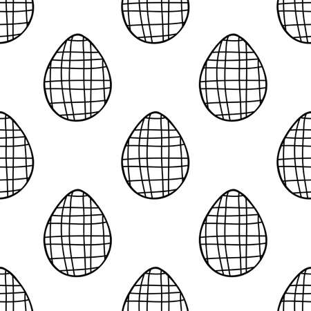 Seamless pattern made from hand drawn Easter eggs illustration. Isolated on a white background.