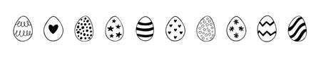 Easter set of doodle eggs illustrations isolated on a white background. Vector Illustration