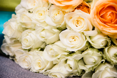 bouquet of many white roses Stock Photo