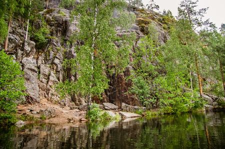 calm lake in Karelia Imagens